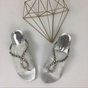 Gianni Bini Silver Leather Rhinestone Sandal